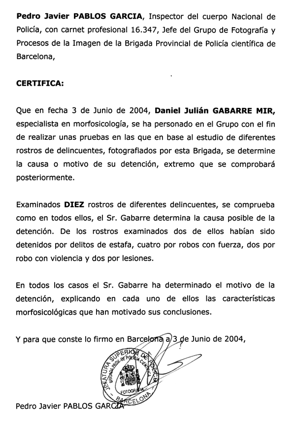 Certificado Policía