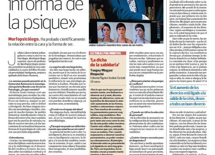 """Artículo El Periódico - El Arte de Vivir """"El rostro informa de la psique"""""""